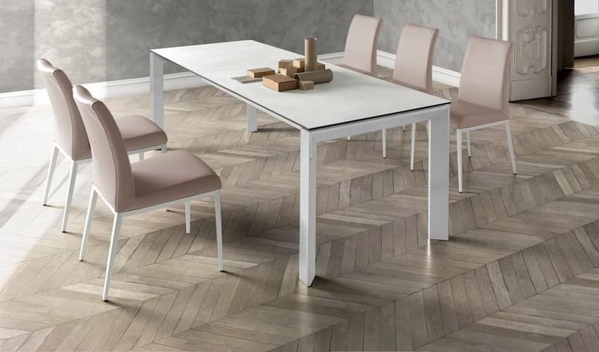 Mesa comedor Extensible con opción patas Metálicas o Madera y Tapa cerámica Ref Q20000