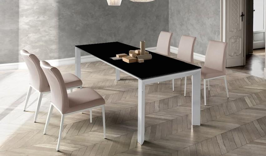 Mesa comedor Extensible con opción patas Metálicas o Madera y Tapa cristal Ref Q166000