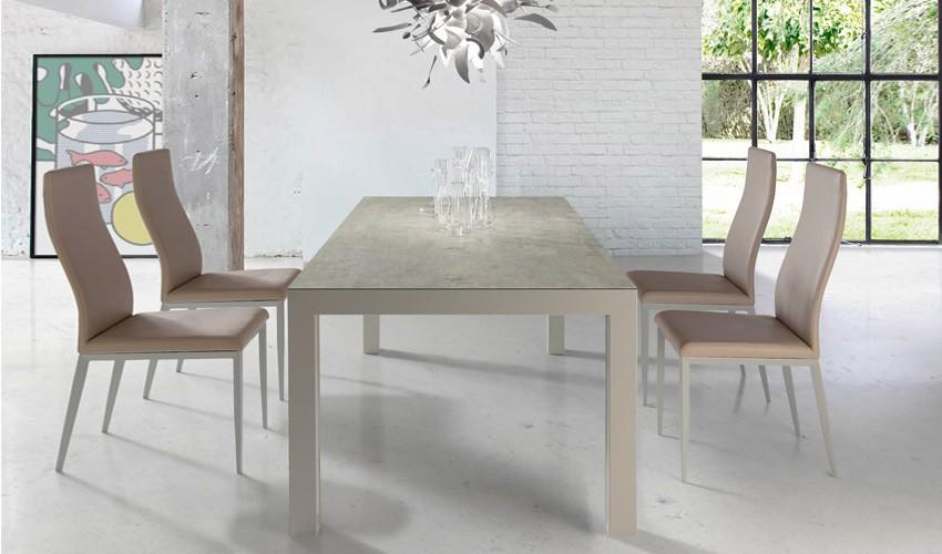 Mesa comedor Extensible con Tapa cerámica y opción patas de madera o metálicas