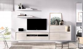 Salón moderno con módulo televisión, aparador y estantes Ref YD01