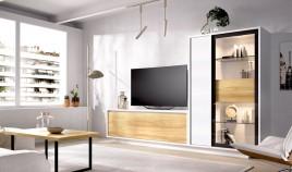 Salón moderno con módulo televisión, armario y vitrina Ref YD02
