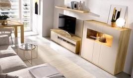 Salón moderno con módulo televisión, módulo 3 puertas y estante Ref YD03