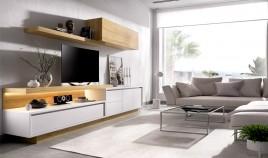 Salón moderno con módulo televisión, módulo con puerta y cajones, altillo y estante Ref YD04