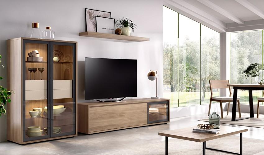 Salón moderno con módulo televisión, vitrina y estante Ref YD05