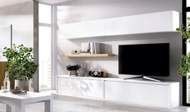 Salón moderno con módulo televisión, módulo con puerta y cajones, altillos y estante Ref YD06