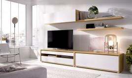 Salón moderno con módulo televisión, módulo puerta abatible, altillo y estantes Ref YD32