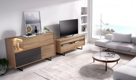 Salón moderno con módulo televisión y aparador Ref YD10