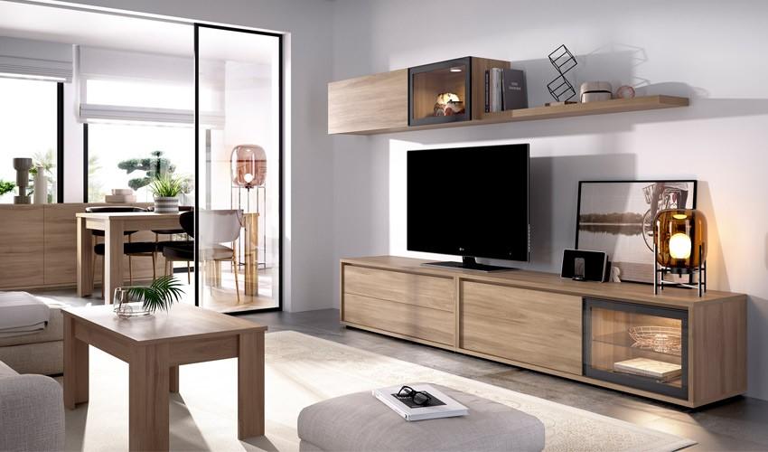 Salón moderno con módulo televisión, bajo con vitrina, altillo y estante Ref YD11