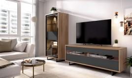 Salón moderno con módulo televisión y vitrina Ref YD13