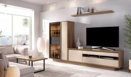 Salón moderno con módulo televisión, vitrina y estante Ref YD14