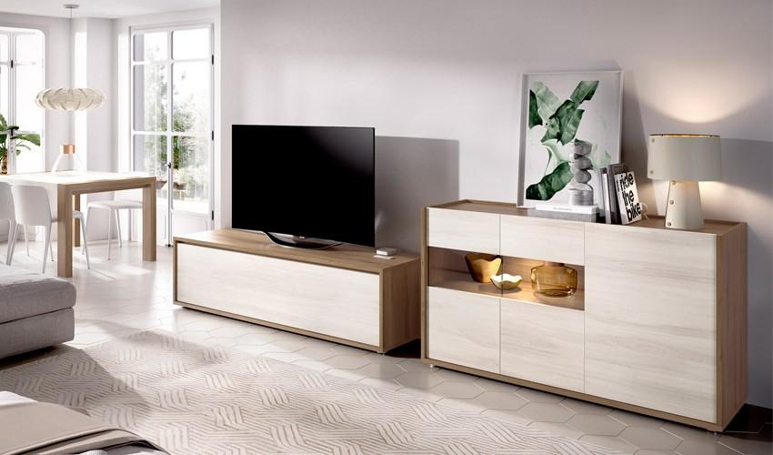 Salón moderno con módulo televisión y aparador Ref YD15