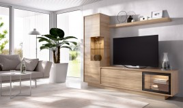 Salón moderno con módulo televisión, vitrina y estante Ref YD16