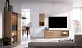 Salón moderno con módulo televisión, vitrina y altillo Ref YD29