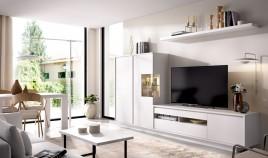 Salón moderno con módulo televisión, módulo 2 puertas y estante Ref YD33