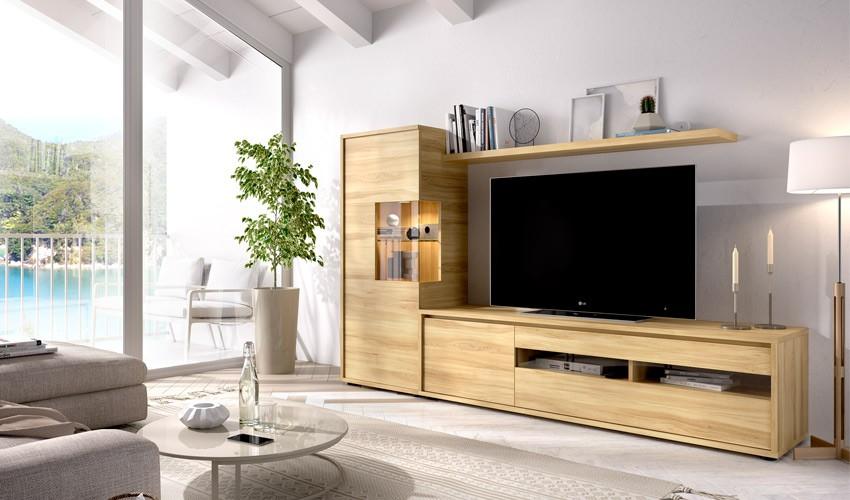 Salón moderno con módulo televisión, módulo vertical con puerta y estante Ref YD36
