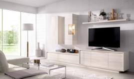 Salón moderno con módulo televisión, módulo bajo, módulos alto y estante Ref YD41