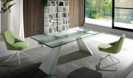Mesa comedor Extensible con Tapa de Cristal o cerámica y patas Metálicas Ref Q183000