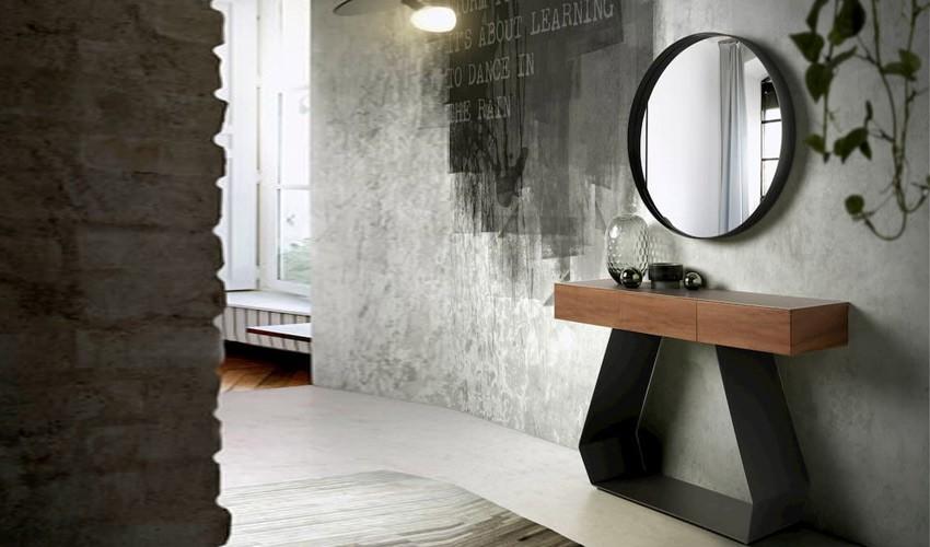 Conjunto recibidor con consola con detalle porcelánico y espejo redondo Ref Q218000