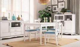 Mesa de Comedor fija fabricada en madera de Pino Ref JI10004