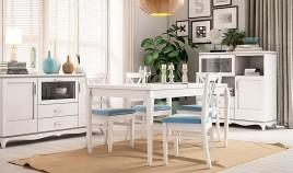 Mesa de Comedor Extensible fabricada en madera de Pino Ref JI10006