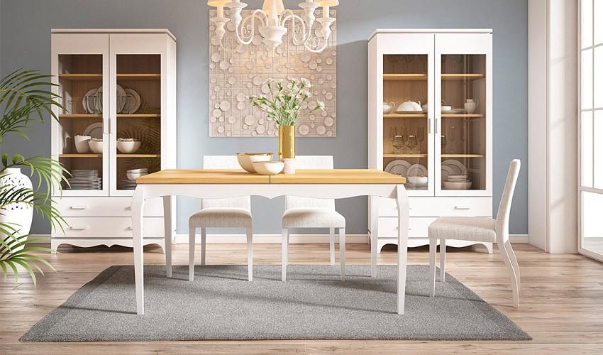 Mesa de Comedor Extensible fabricada en madera de Pino Ref JI10007