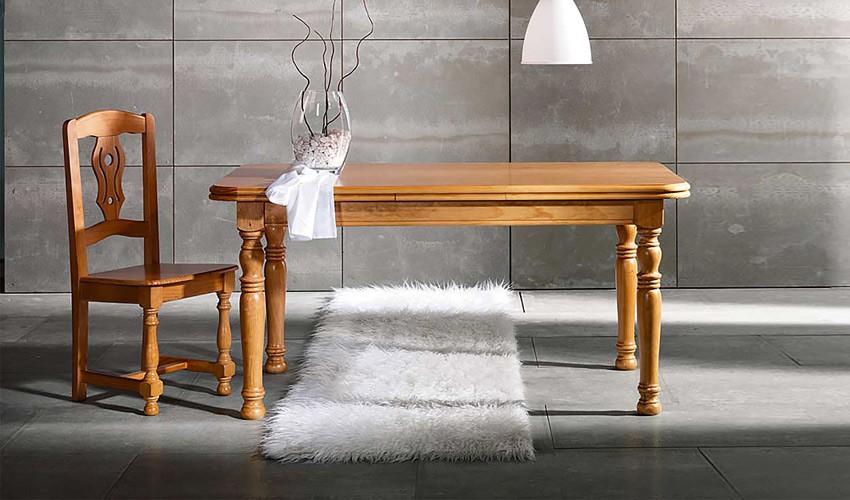 Mesa de Comedor Extensible fabricada en madera de Pino con patas torneadas Ref JI10021