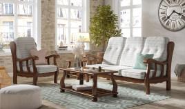 JI10034 Sofá provenzal fabricado en madera de pino disponible en 3, 2 y 1 Plazas