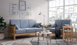 JI10036 Sofá con brazos de madera disponible en 3, 2 y 1 Plazas