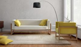 JI10037 Sofá moderno con brazos de madera disponible en 3, 2 y 1 Plazas