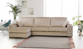 PT25100 Sofá chaiselongue clásico con capitoné disponible en 4, 3 y 2 Plazas