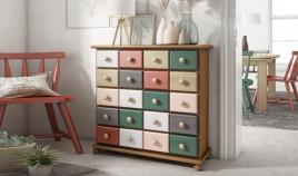 Mueble decorativo con cajones estilo provenzal fabricado en madera de Pino Ref JI10046