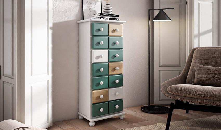 Mueble decorativo con cajones estilo provenzal fabricado en madera de Pino Ref JI10047