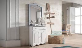 Mueble taquillón con espejo estilo provenzal fabricado en madera de Pino Ref JI10048