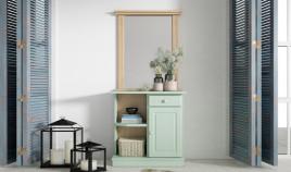 Mueble taquillón con espejo estilo provenzal fabricado en madera de Pino Ref JI10051