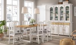 Salón comedor estilo provenzal con Aparador con vitrina, mesa de comedor y sillass Ref JI66