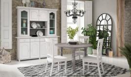 Salón comedor estilo provenzal con Aparador con librería, mesa de comedor y sillas Ref JI67