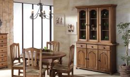 Aparador con vitrina de estilo provenzal fabricado en madera de Pino Ref JI10078