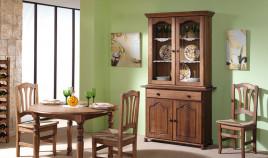 Aparador con vitrina de estilo provenzal fabricado en madera de Pino Ref JI10084