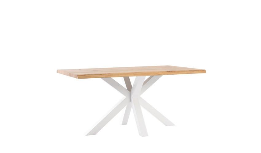 Mesa comedor con tapa en madera maciza de Roble y patas metálicas Ref IX28000