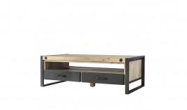 Mesa de centro de estilo industrial fabricada en madera de Acacia y metal Ref IX47000