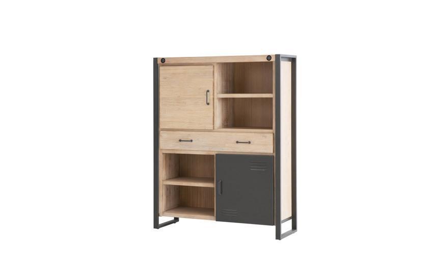 Librero Bajo de estilo industrial fabricado en madera de Acacia y metal Ref IX55000