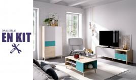 Salón moderno con mesa televisión, aparador alto y mesa de centro Ref YK40