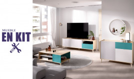 Salón moderno con mesa televisión, aparador y mesa de centro Ref YK41