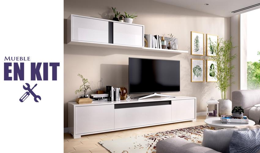 Salón moderno con módulo televisión y altillo Ref YK51