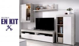 Salón moderno con módulo televisión, vitrina, módulo golgante y estante Ref YK61