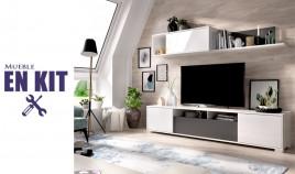 Salón moderno con módulo televisión, módulo golgante y estante Ref YK68