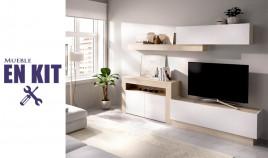 Salón moderno con módulo televisión, módulo bajo, módulo colgante y estante Ref YK70