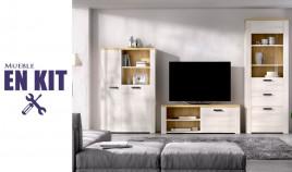 Salón moderno con módulo televisión, aparador y vitrina Ref YK73