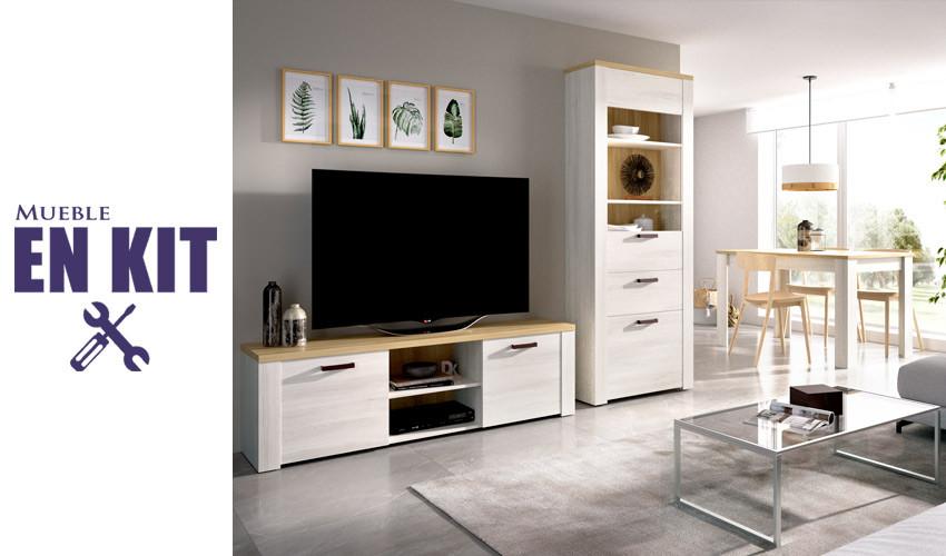 Salón moderno con módulo televisión, vitrina y mesa de comedor extensible Ref YK75