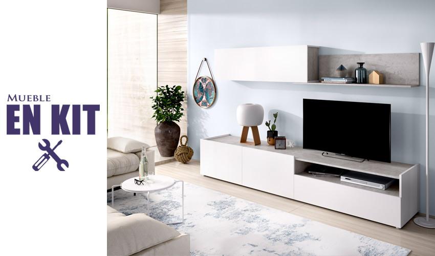 Salón moderno con módulo televisión, módulo colgante y estante Ref YK78